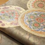 青磁地絵皿紋袋帯