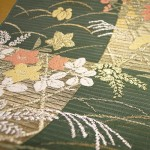 濃グリーン地市松秋草柄絽織名古屋帯