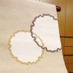 白茶地雪輪柄八寸綴帯