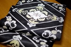 黒地菱取唐織紗袋帯2
