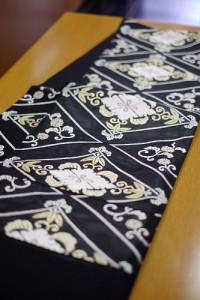 黒地菱取唐織紗袋帯1