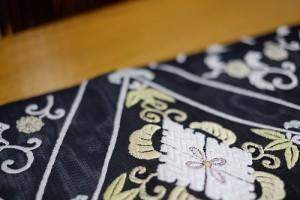 黒地菱取唐織紗袋帯3