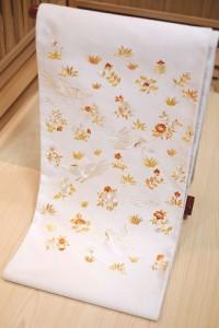 白地鳳凰唐花刺繍袋帯1