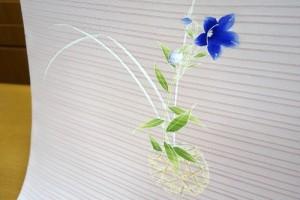 薄ピンク地花篭桔梗絽染名古屋帯2