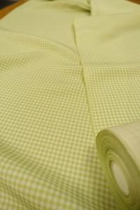 二色格子小紋 黄/グリーン1